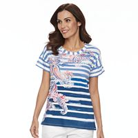 Women's Caribbean Joe Paisely Striped Tee