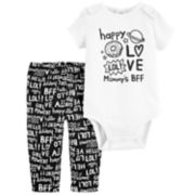 "Baby Girl Carter's ""Mommy's BFF"" Graphic Bodysuit & Printed Pants Set"
