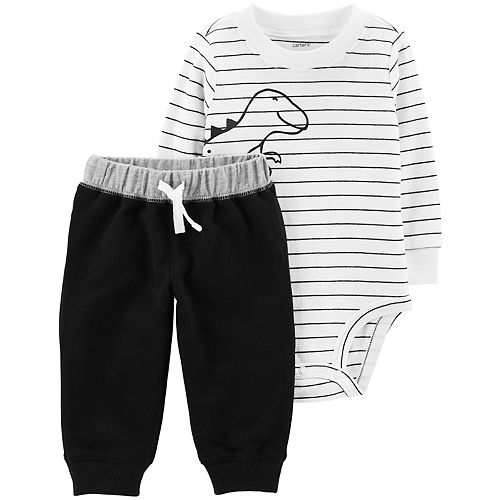 Baby Boy Carter's Striped Dino Bodysuit & Solid Pants Set