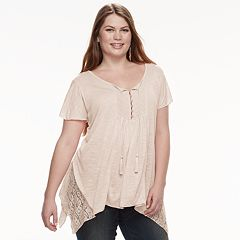 Plus Size World Unity Lace Shark-Bite Top