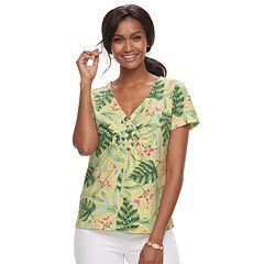 Women's Caribbean Joe Floral Woven Tee