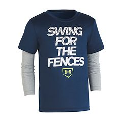 Boys 4-7 Under Armour 'Swing For The Fences' Mock Layer Tee