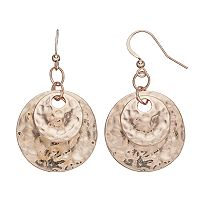 Rose Gold Tone Hammered Double Disc Nickel Free Drop Earrings