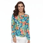 Women's Caribbean Joe Tropical Grommet Hem Top