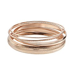 Rose Gold Bangle Bracelet Set