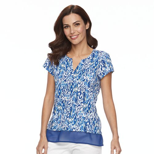 Women's Caribbean Joe Print Contrast Hem Top