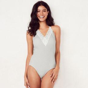 Women's LC Lauren Conrad Beach Shop Lace-Trim One-Piece Swimsuit