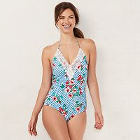 Women's LC Lauren Conrad Beach Shop Lace-Trim One-Piece Swimsuit