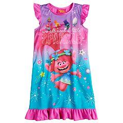Girls 4-10 DreamWorks Trolls Poppy 'Sparkle' Ruffled Knee Length Nightgown