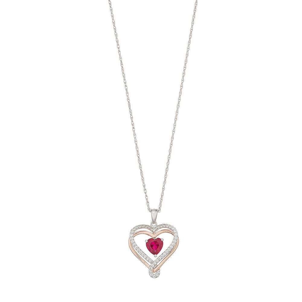 Two Tone Sterling Silver Lab-Created Ruby Heart Pendant Necklace