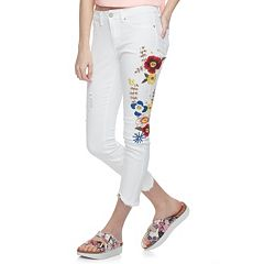 Juniors' Indigo Rein Floral Embroidered Ankle Jeans