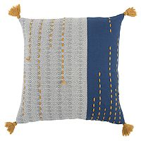 Rizzy Home Stripe Tassels Throw Pillow