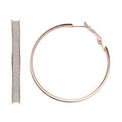 Rose Gold Nickel Free Glitter Hoop Earrings