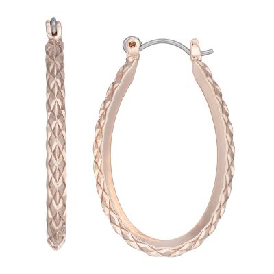SONOMA Goods for Life? Rose Gold Nickel Free Textured Oval Hoop Earrings