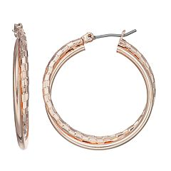 Rose Gold Nickel Free Double Hoop Earrings