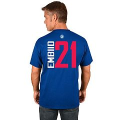 Men's Majestic Philadelphia 76ers Joel Embiid Player Name and Number Tee