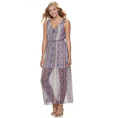Juniors' Lily Rose Printed Chiffon Maxi Dress