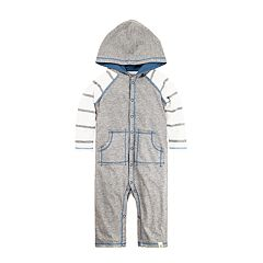 Baby Boy Burt's Bees Baby Striped Raglan Organic Hooded Coverall