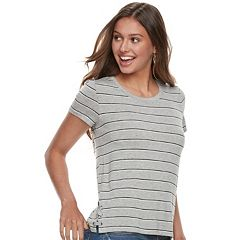 Juniors' Pink Republic Lace-Up Side Striped Tee