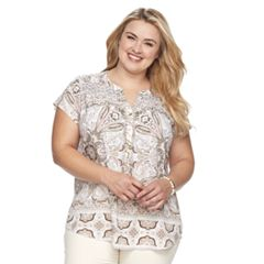 Plus Size Croft & Barrow® Pleated Henley Top