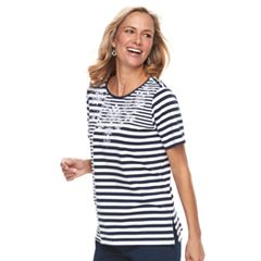 Petite Alfred Dunner Studio Scroll Striped Top