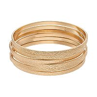 Gold Tone Textured Bangle Bracelet Set