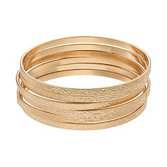 Gold Tone Textured Bangle Bracelet Set