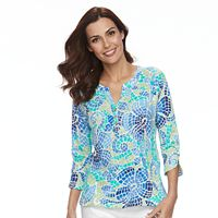 Women's Caribbean Joe Mosaic Henley Top