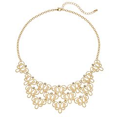 Simulated Crystal Filigree Bib Nickel Free Statement Necklace