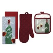The Big One® Wine Print Kitchen Towel, Pot Holder & Oven Mitt Set