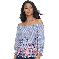 Women's ELLE™ Embroidered Off-the-Shoulder Top