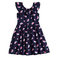 Girls 4-10 Jumping Beans® Ruffled Neck Skater Dress