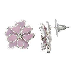 Purple Flower Nickel Free Stud Earrings