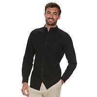 Men's Marc Anthony Slim-Fit Linen-Blend Band-Collar Button-Down Shirt