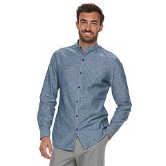 Men's Marc Anthony Slim-Fit Linen-Blend Band-Collar Button-Down Shirt