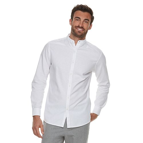 571ac7eed982d0 Men's Marc Anthony Slim-Fit Linen-Blend Band-Collar Button-Down Shirt