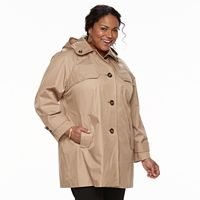 Plus Size TOWER by London Fog Hooded Double-Collar Jacket