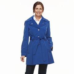 Women's TOWER by London Fog Hooded Double-Layer Lapel Raincoat