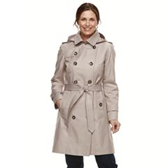 Women's TOWER By London Fog Hooded Trench Coat
