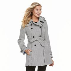 Women's TOWER by London Fog Hooded Geometric Double-Breasted Trench Coat