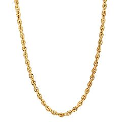 Everlasting Gold 14k Gold Glitter Rope Chain Necklace - 24 in.