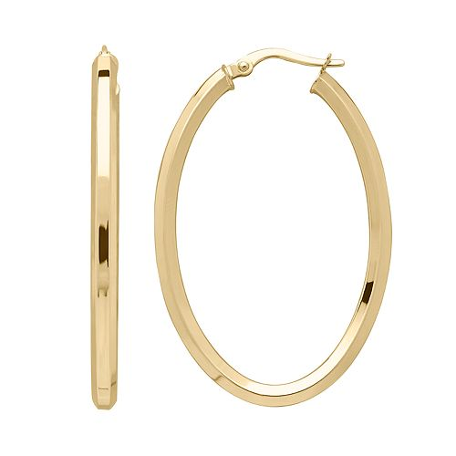 Everlasting Gold 14k Gold Hexagon Tube Oval Hoop Earrings