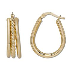 Everlasting Gold 14k Gold Pear Teardrop Hoop Earrings