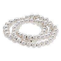 Three Row Silver Beaded Stretch Bracelet