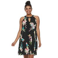 Juniors' Plus Size Candie's® Scalloped Halter Floral Swing Dress