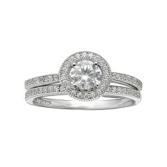 PRIMROSE Sterling Silver Cubic Zirconia Halo Ring Set