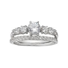 PRIMROSE Sterling Silver Cubic Zirconia Graduated Ring Set
