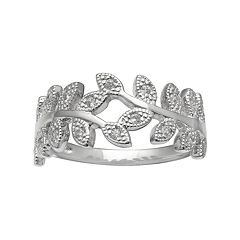 PRIMROSE Sterling Silver Cubic Zirconia Vine Ring