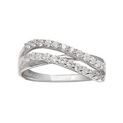 PRIMROSE Sterling Silver Cubic Zirconia Wave Ring