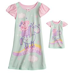 Toddler Girl Peppa Pig 'Magical' Unicorn Nightgown & Doll Nightgown